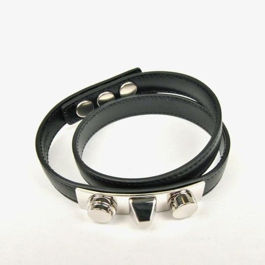 Saint Laurent Black Leather Studded Wrap Around Bracelet M 420121 1000 Image 4
