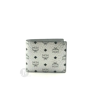 MCM BRAND NEW MENS MCM BERLIN SILVER MONOGRAM VISETOS SMALL TWO FOLD FLAP