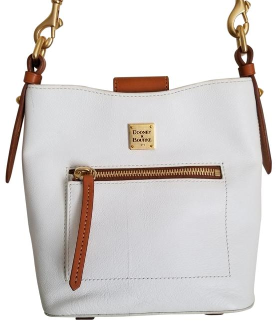 Item - Raleigh Small White and Brown Leather Cross Body Bag