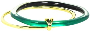 Alexis Bittar ALEXIS BITTAR Gold Plated Green Lucite Set of Two Bangle Bracelets