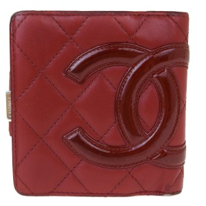 Chanel Authentic CHANEL Cambon CC Logo Bifold Wallet Purse Leather Red Italy