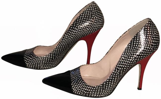 Item - Black and White Vero Cuoio Lacy Heel Pumps Size EU 40.5 (Approx. US 10.5) Narrow (Aa, N)