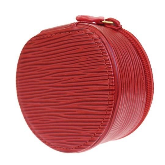 Chanel Authentic LOUIS VUITTON Ecrin Bijou Jewelry Case Leather Red Image 2