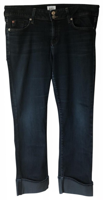 Item - Denim Dark Rinse Ginny Crop Straight with Cuff Capri/Cropped Jeans Size 12 (L, 32, 33)