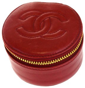 Chanel Authentic CHANEL CC Logos Jewelry Case Leather Red Made In Italy