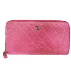 Chanel Authentic CHANEL CC Long Zipper Wallet Purse Caviar Skin Leather Pink
