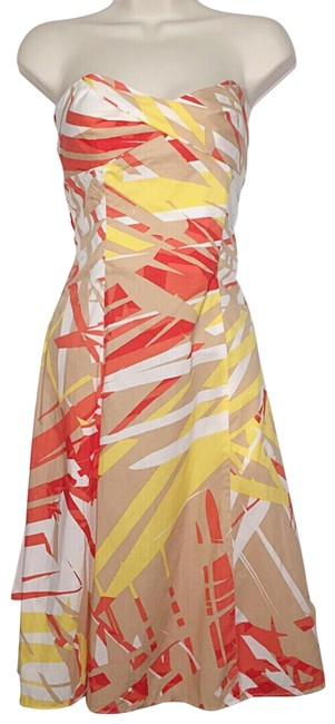 Diane von Furstenberg Tan Orange Yellow White Abstract Print Strapless Cotton Mid-length Short Casual Dress Size 2 (XS) Diane von Furstenberg Tan Orange Yellow White Abstract Print Strapless Cotton Mid-length Short Casual Dress Size 2 (XS) Image 1