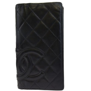 Chanel Authentic CHANEL CC Cambon Long Bifold Wallet Purse Leather Black Pink