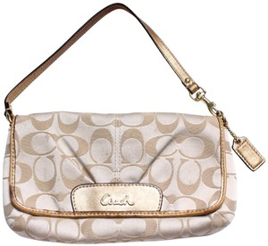 Coach Foldover Leather Wristlet in Tan gold