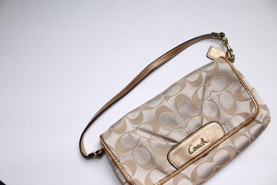 Coach Foldover Leather Wristlet in Tan gold Image 10