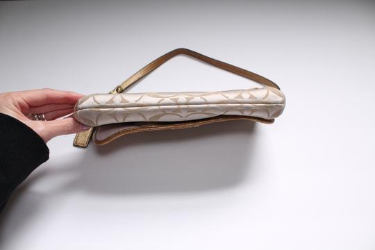 Coach Foldover Leather Wristlet in Tan gold Image 2
