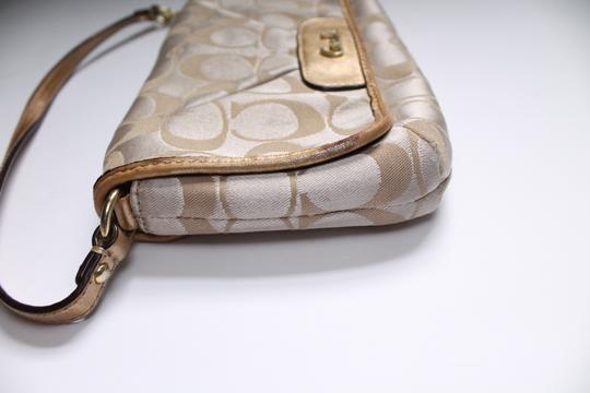 Coach Foldover Leather Wristlet in Tan gold Image 3