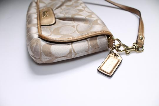 Coach Foldover Leather Wristlet in Tan gold Image 4