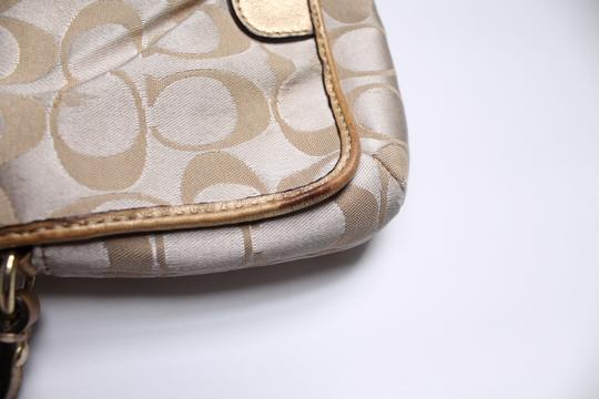 Coach Foldover Leather Wristlet in Tan gold Image 5