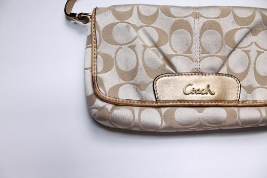 Coach Foldover Leather Wristlet in Tan gold Image 6