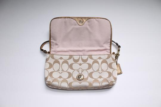 Coach Foldover Leather Wristlet in Tan gold Image 7