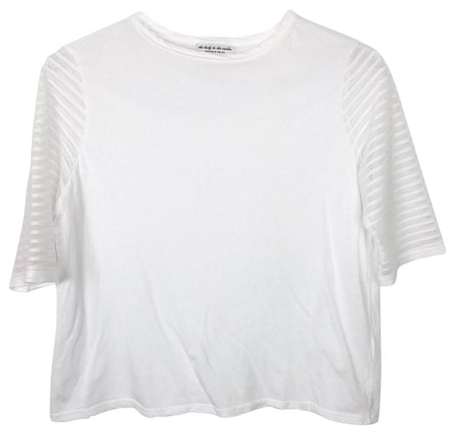 Preload https://img-static.tradesy.com/item/25961421/white-34-sheer-striped-sleeve-tee-shirt-size-2-xs-0-1-650-650.jpg