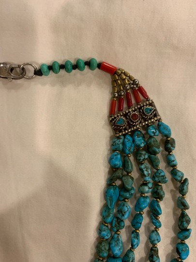 Navajo Turquoise And Coral vintage handmade Navajo silver, turquoise, and coral necklace with lobster clasp. Image 1
