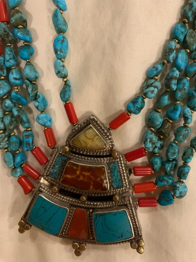Navajo Turquoise And Coral vintage handmade Navajo silver, turquoise, and coral necklace with lobster clasp. Image 2