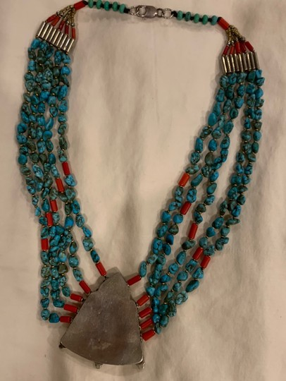 Navajo Turquoise And Coral vintage handmade Navajo silver, turquoise, and coral necklace with lobster clasp. Image 3