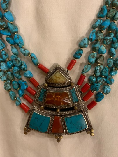 Navajo Turquoise And Coral vintage handmade Navajo silver, turquoise, and coral necklace with lobster clasp. Image 4