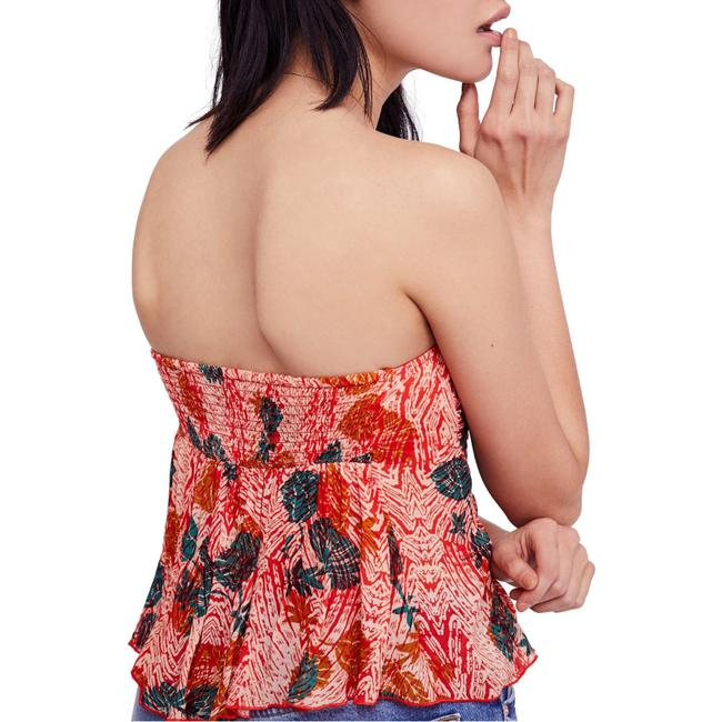 Free People Sleeveless Print Stretchy Rayon Strapless Top Multi-Color Image 1
