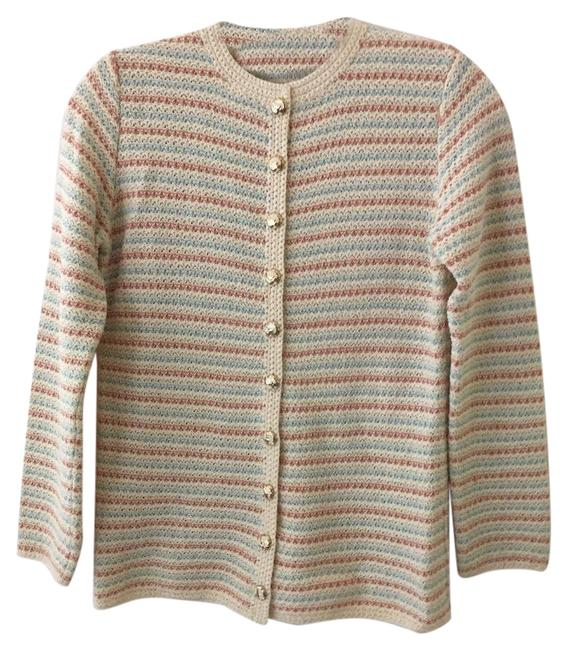 Preload https://img-static.tradesy.com/item/25961551/st-john-beige-with-aqua-and-coral-for-saks-fifth-avenue-cardigan-size-4-s-0-1-650-650.jpg