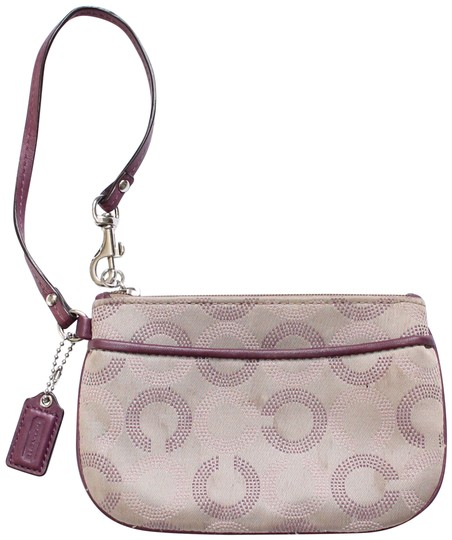 Preload https://img-static.tradesy.com/item/25961599/coach-ashley-dotted-op-art-sateen-tan-purple-canvas-leather-wristlet-0-1-540-540.jpg