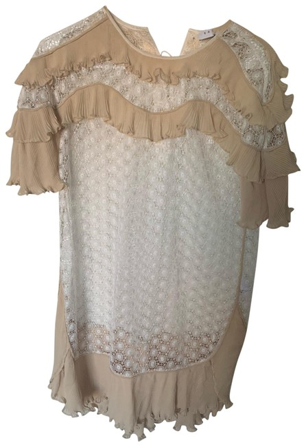 Preload https://img-static.tradesy.com/item/25961804/sandro-white-and-yellow-lace-short-casual-dress-size-4-s-0-1-650-650.jpg