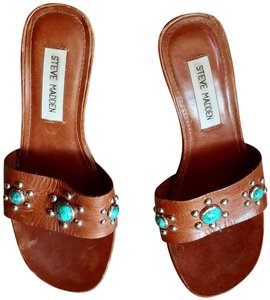 Steve Madden Leather cognac, turquoise, silver Sandals