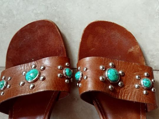 Steve Madden Leather cognac, turquoise, silver Sandals Image 1
