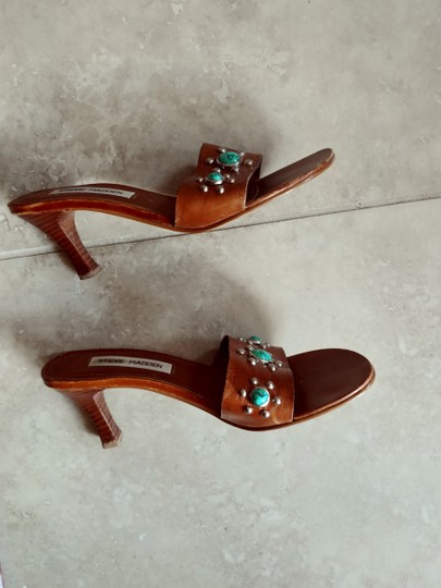 Steve Madden Leather cognac, turquoise, silver Sandals Image 3