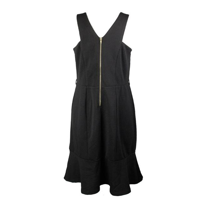 City Chic Sleeveless Textured Panel Exposed Zipper Cut-out Dress Image 1