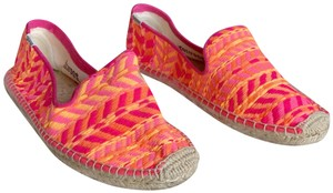 Soludos Neon Pink and Orange Flats