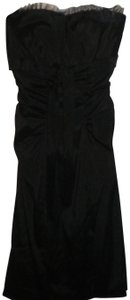 Cache Strapless Padded Lined Ribbon Front Ruffle Net Trim Dress