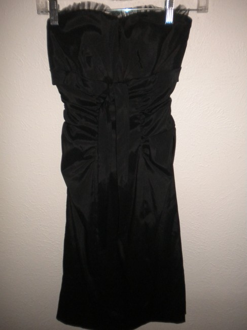 Cache Strapless Padded Lined Ribbon Front Ruffle Net Trim Dress Image 1