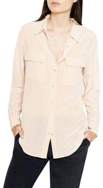 Item - Nude L New Slim Signature Silk Shirt Mush Have Button-down Top Size 12 (L)