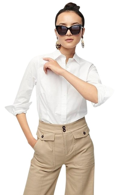 Preload https://img-static.tradesy.com/item/25961934/jcrew-white-stretch-perfect-34-sleeve-button-down-top-size-8-m-0-2-650-650.jpg