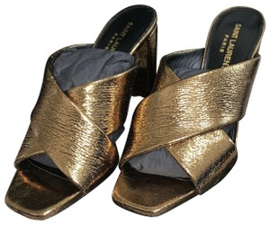 Saint Laurent Gold Crisscross Strap Leather Bronze Mules