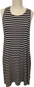 Socialite short dress Black & Ivory Striped Sleeveless Pockets on Tradesy