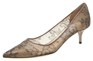Jimmy Choo Bronze Lace Pointed Toe Metallic Pumps