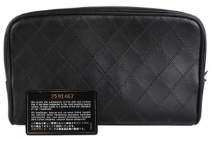 Chanel Excellent Condition Chanel Leather Black Cosmetic Toiletry Bag 7683