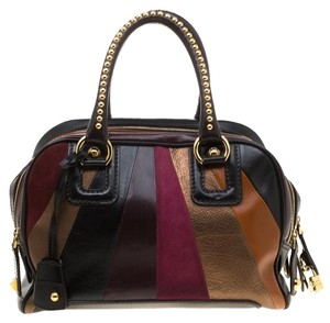 Dolce&Gabbana Leather Studded Suede Satchel in Multicolor