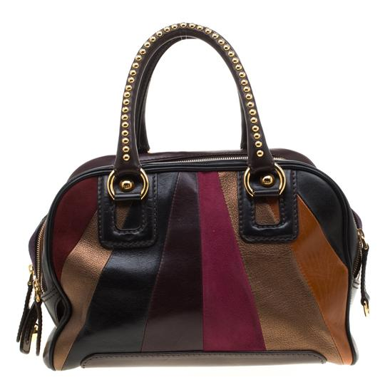 Dolce&Gabbana Leather Studded Suede Satchel in Multicolor Image 1