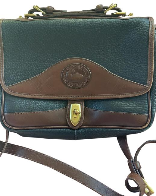 Item - Black with Brown Accent Leather Messenger Bag