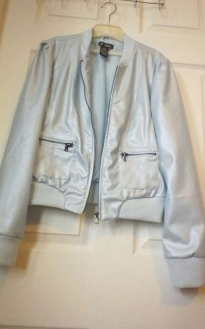 Strawberry Breathable Comfortable Faux blue Leather Jacket
