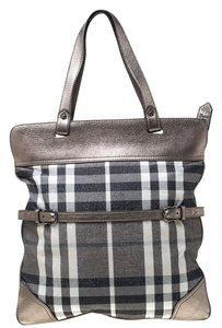 Burberry Canvas Leather Tote in Metallic