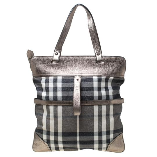 Burberry Canvas Leather Tote in Metallic Image 1