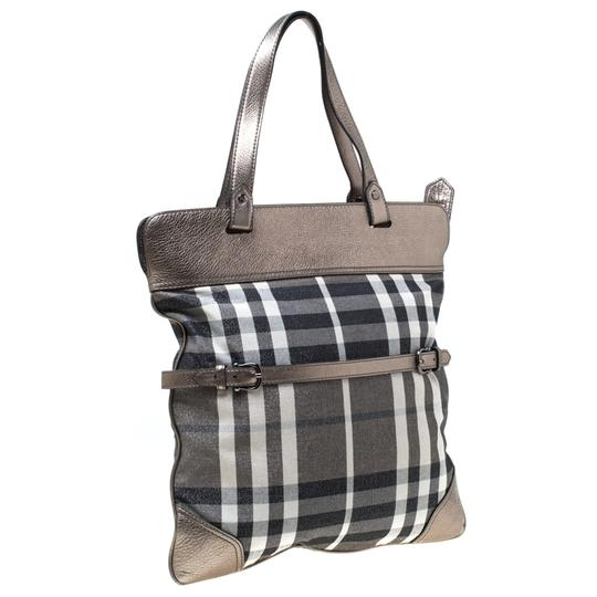 Burberry Canvas Leather Tote in Metallic Image 5