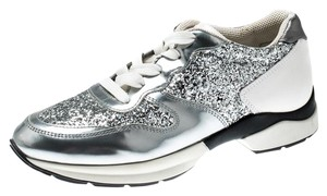 Tod's Metallic Glitter Leather Lace Silver Athletic